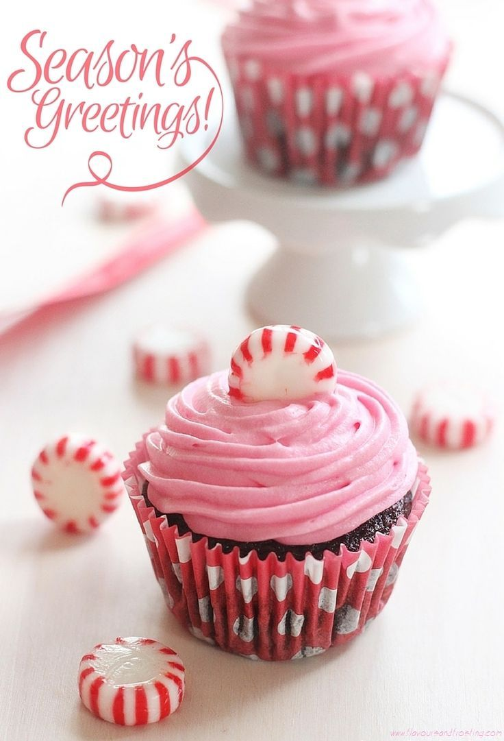 Recipe for Pink Peppermint Candy Chocolate Cupcakes! http://FlavoursandFrosting.com
