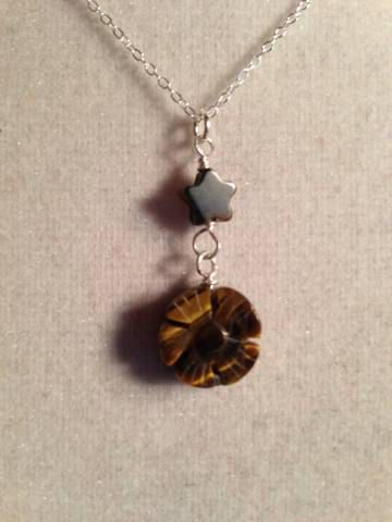 Tiger Eye Necklace Gemstone Jewelry Sterling Silver by cdjali, $23.00