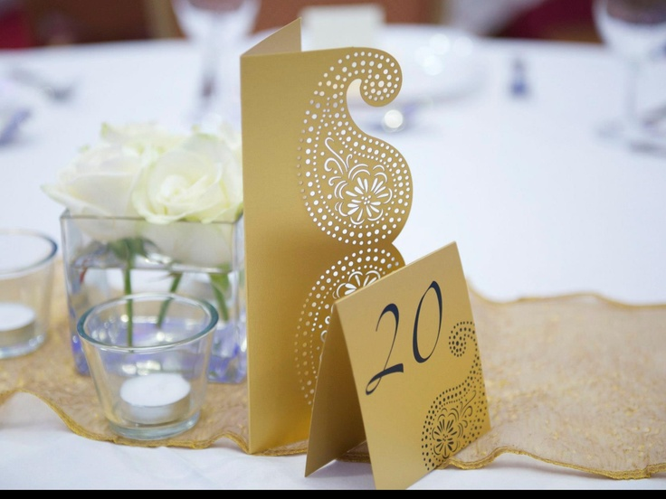 gold paisley menu and table number