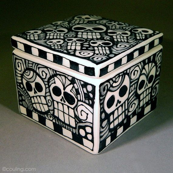 Day of the Dead Sugar Skulls Ceramic Pottery by LunaGraphica