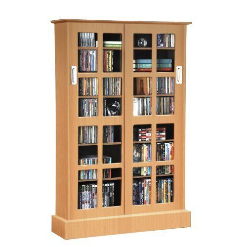 Atlantic 94835684 Windowpane Media Storage Cabinet (Maple) by Atlantic. $135.00. This traditional media storage cabinet will fit with most décor. Glass pane styled doors that slide from either side make accessing the right movie or music easy.