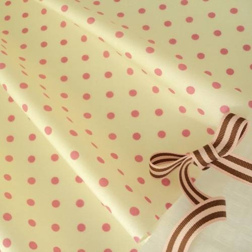 FQ - CREAM / ROSE PINK - MOD POLKA DOT 100% COTTON FABRIC PATCHWORK QUILTING | eBay