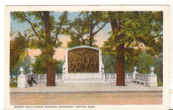 Undated Unused Postcard Robert Gould Shaw Monument Boston Massachusetts MA