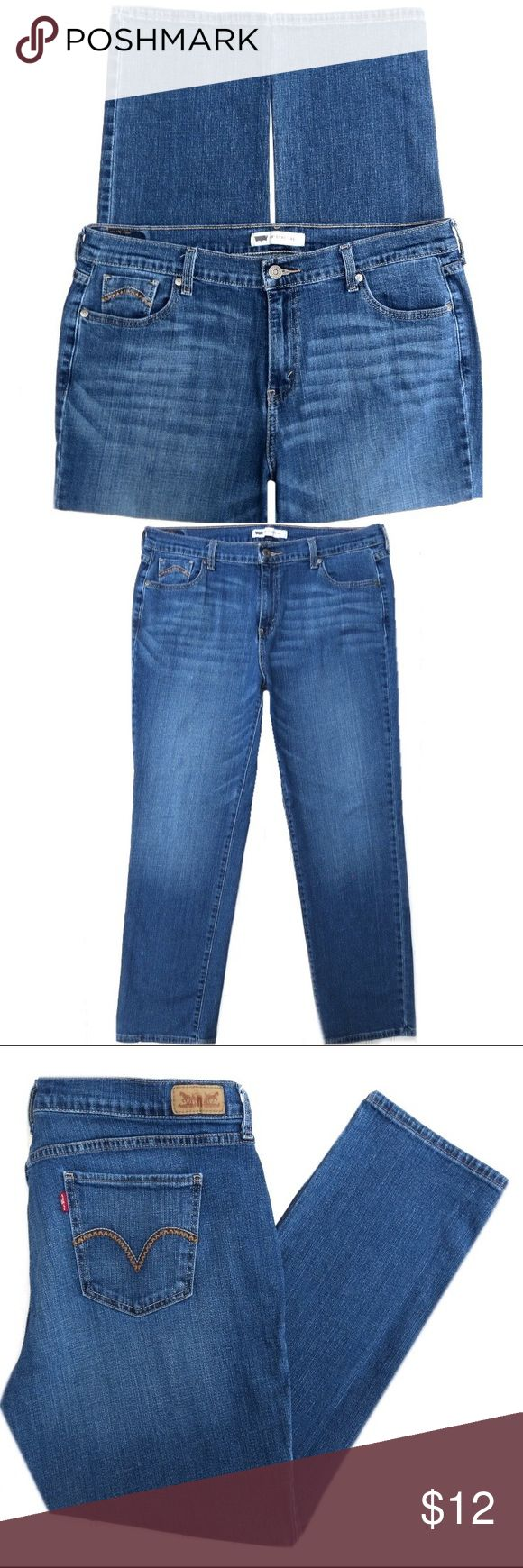 """Levis 505 Straight Leg Jeans Levis 505 Straight Leg stretch jeans. Medium blue, distressed wash. Cotton/Spandex. Size 16 Short. They have a 10"""" rise and 29"""" inseam. Amazing fit! Levi's Jeans Straight Leg"""
