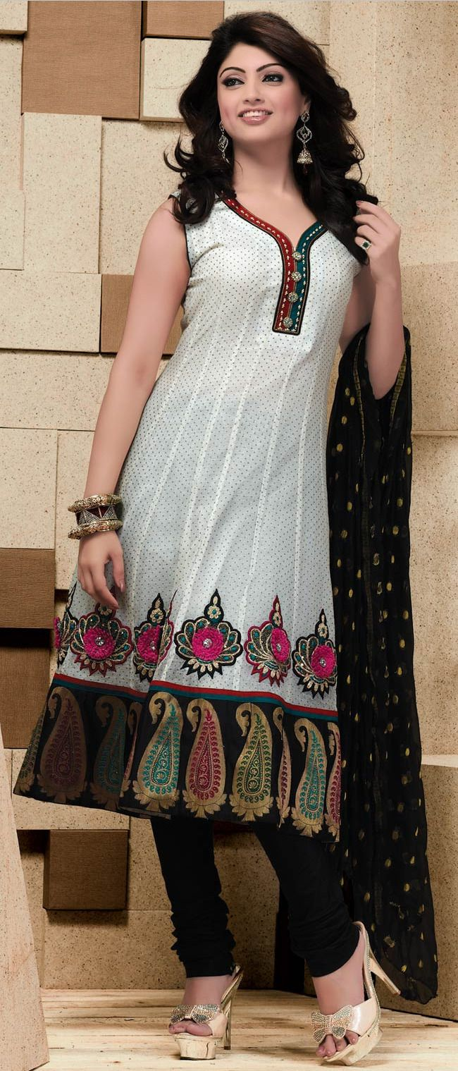 #White Readymade Chanderi #Churidar #Kameez @ $109.63 | Shop @ http://www.utsavfashion.com/store/sarees-large.aspx?icode=kbp570