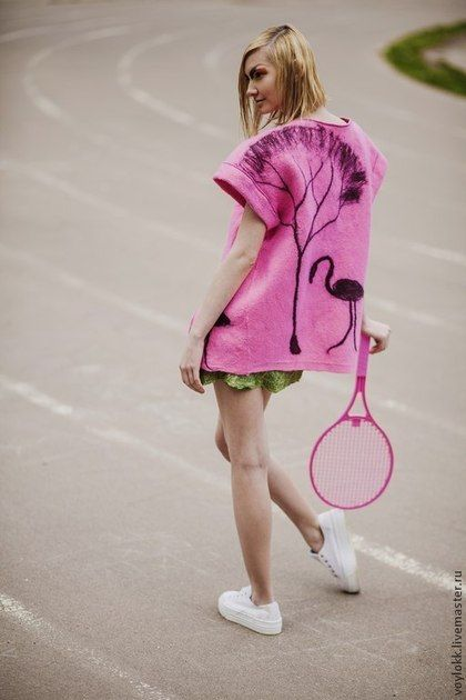 "Валяный жилет ""Розовый фламинго"". Handmade. #felting"