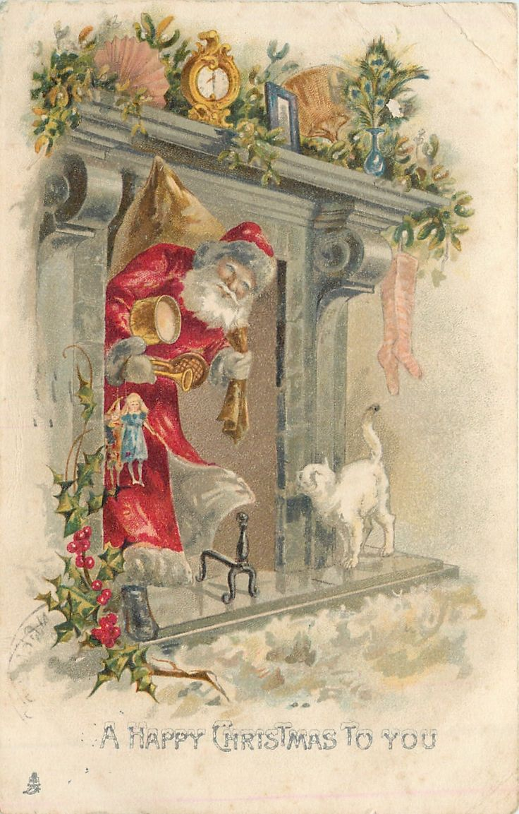 """A Happy Christmas to You"". Santa greeted by white cat after coming down the chimney"