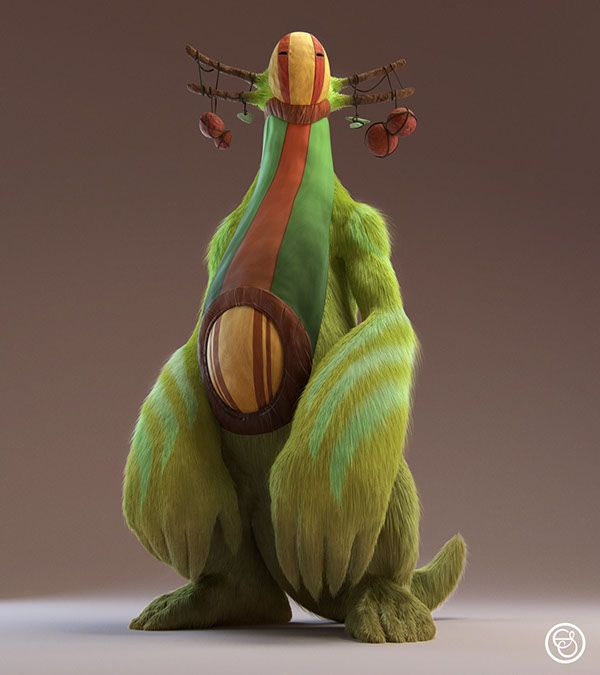 Rajak - The Big Furry Creature on Character Design Served