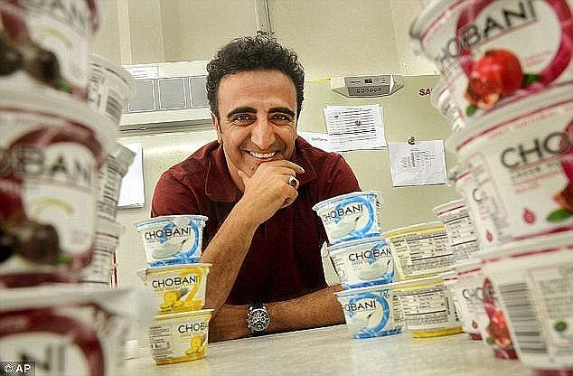 Giving back: Chobani founder and CEO Hamdi Ulukaya has joined some of the world's wealthiest people and pledged to give away at least half his wealth, estimated at $1.41billion