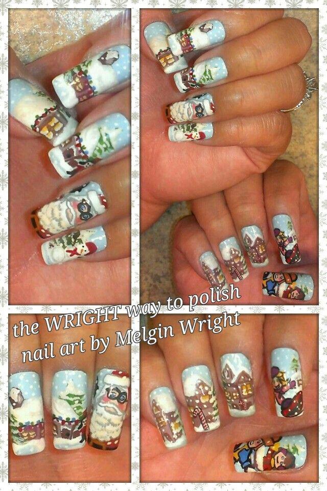 Christmas Winter Wonderland- Hand painted nail art. Painted with Nail polish and acrylic paint by Melgin Wright  http://www.facebook.com/TheWrightWayToPolishNailArtByMelginWright  http://pinterest.com/melginswright/boards/