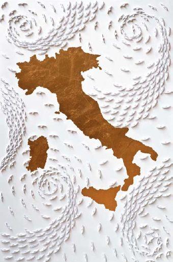 Italia, 2010. Barche di carta su tela e foglia oro, cm 110 x 70.Ricardo Gusmaroli