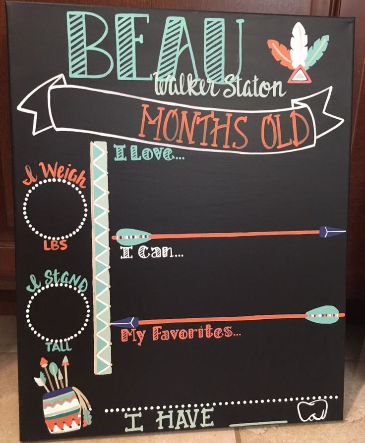 Tribal  Rustic Arrow Feather Chalkboard baby month / Monthly Stickers / Baby Chalkboard / Monthly Milestone / Shower Gift / Tracker / prop by EaselyDesigned on Etsy https://www.etsy.com/listing/483892840/tribal-rustic-arrow-feather-chalkboard