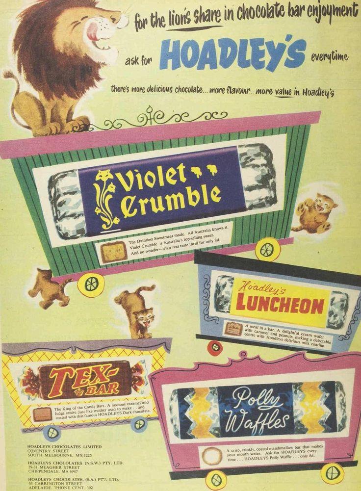 Hoadley chocolate ad, 1956. I forgot about Tex Bars. I loved Polly Waffles! those bastards at Cadbury stopped making them!
