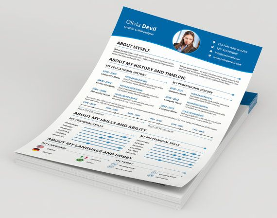 Resume with cover letterCV-006 by TemplateStock on Etsy Resume - brochure template on word