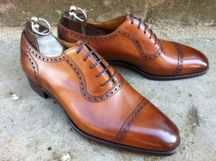 Handmade Brown Half Brogue Leather Shoes, Men Formal Cap Toe Dress Tuxedo Shoes - Dress/Formal