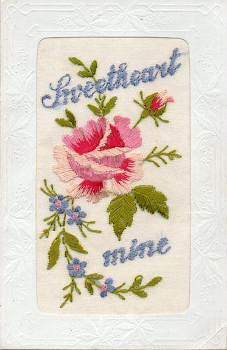 Sweetheart Mine Beautiful Embroidered Greetings WW1 Silk Postcard
