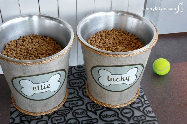 Make raised dog bowls to help your furry friend's health. Fabric, Mod Podge and a name label turn trash cans into a cute, inexpensive feeding station.