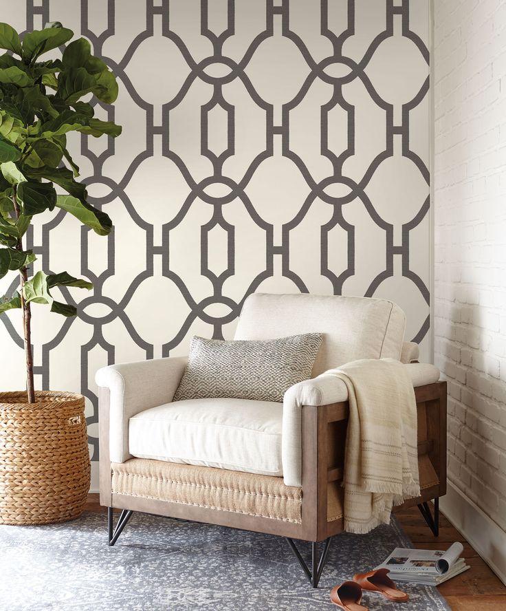 Magnolia Home Woven Trellis Wallpaper – Repurpose (Charcoal)