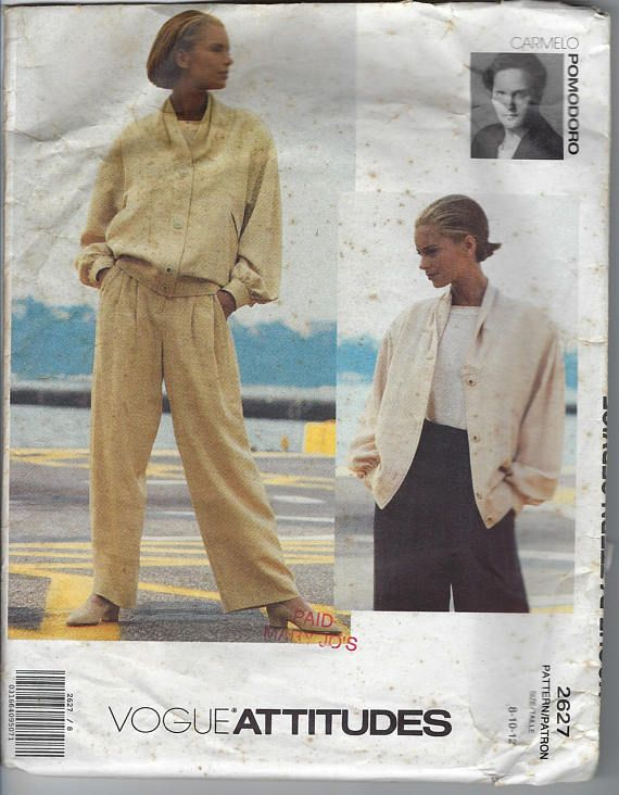 Vintage Vogue Sewing Pattern Carmelo Pomodoro Tailored Jacket Ankle Length Pants Attitudes 2627 Size 8 10 12 or 14 16 18 Pattern for Women