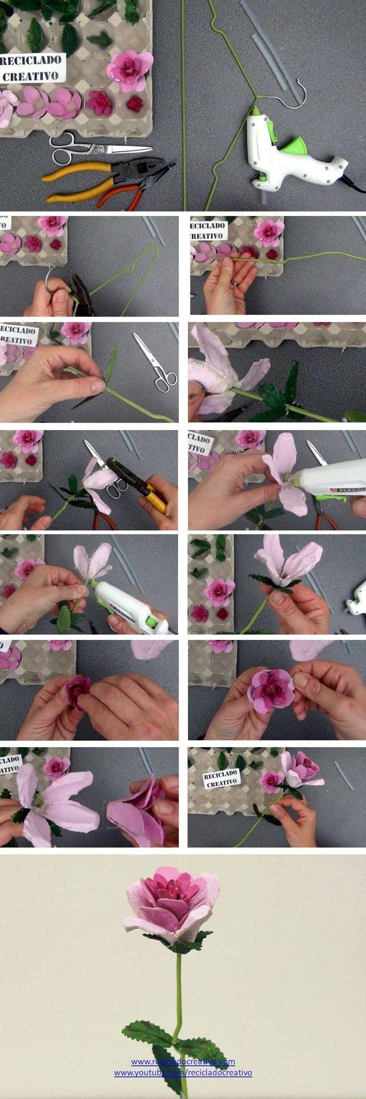 Cómo hacer rosas con hueveras de cartón y tallo de percha de la ropa https://youtu.be/0NcFL0AZdZc