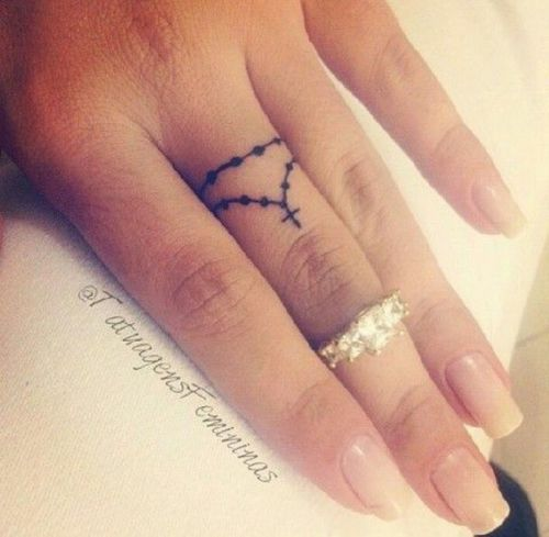Small rosary finger tattoo - I'm not religious, but this is beautiful.                                                                                                                                                     More