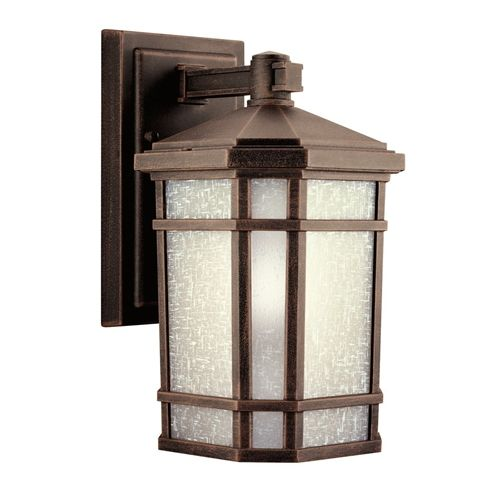 Kichler outdoor wall light with white glass in prairie rock finish at destination lighting