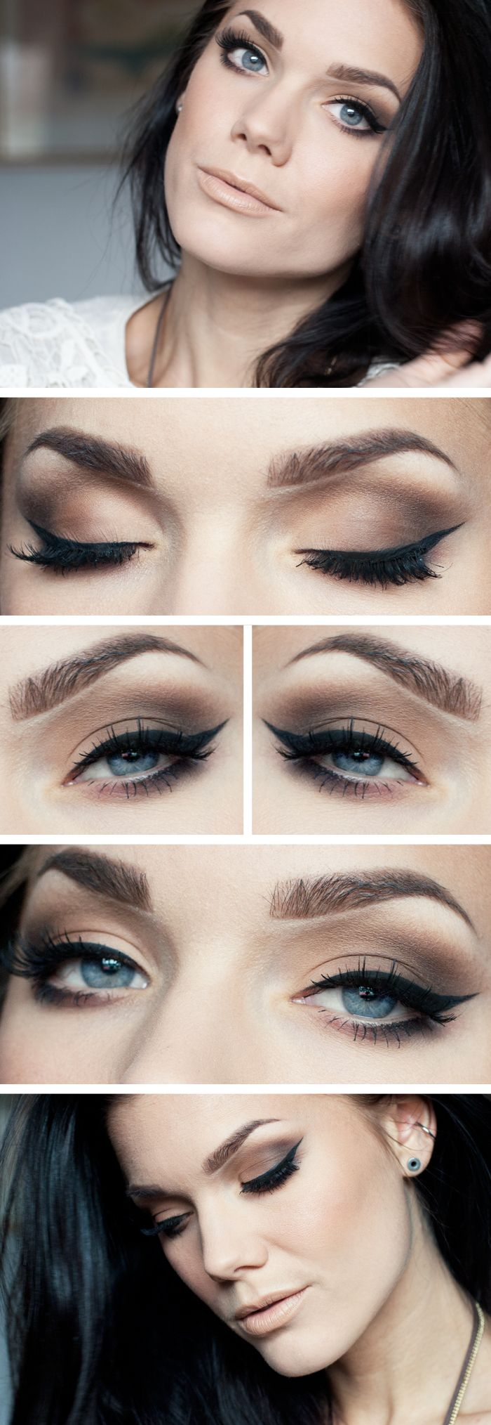 """Today's look : """"Restless Nights"""" ( a beautiful natural everyday smokey eye using the Anastasia brow pro palette as eyeshadow... love how this natural eye is paired with a nude lip. gorgeous!) 04/30/13"""