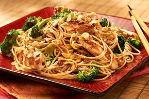 Speedy chicken stir fry, with Kraft Asian toasted sesame dressing.