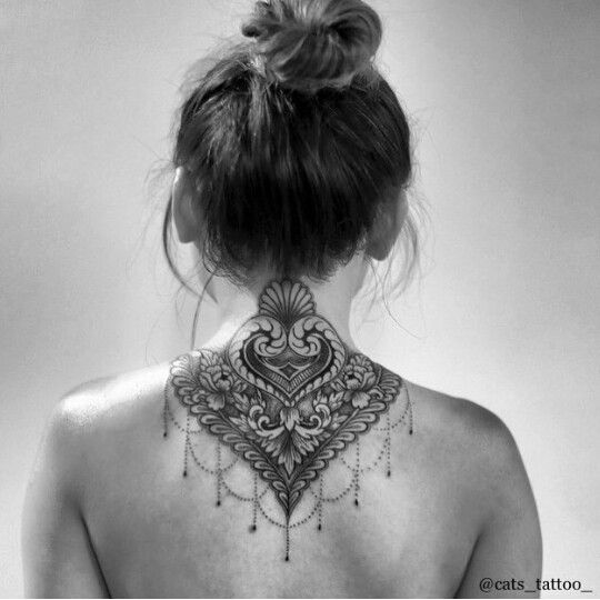 Black and gray lace and beading tattoo by @cats_tattoo_