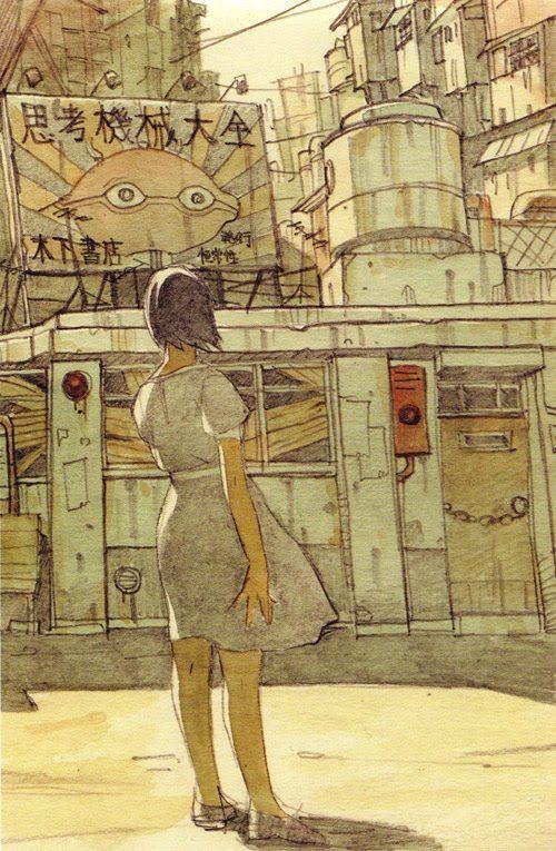 Tatsuyuki Tanaka - uma mulher contempla o lugar miserável que vive . Mas será que é o lugar ou ela ?