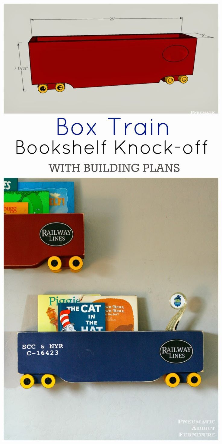 Make all three shelves for $40. Box train bookshelf knock-off, with free building plans.