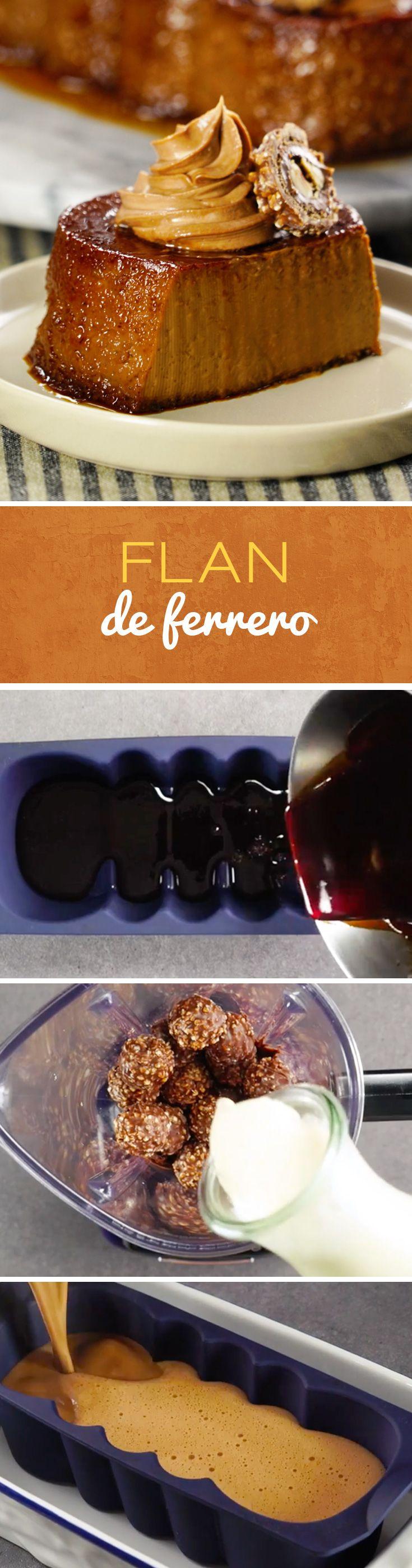 Sé el más original de las fiestas con este rico flan de chocolate Ferrero Rocher. Un postre muy especial para cumpleaños o para hacer con amigos. Este postre mexicano te encantará.