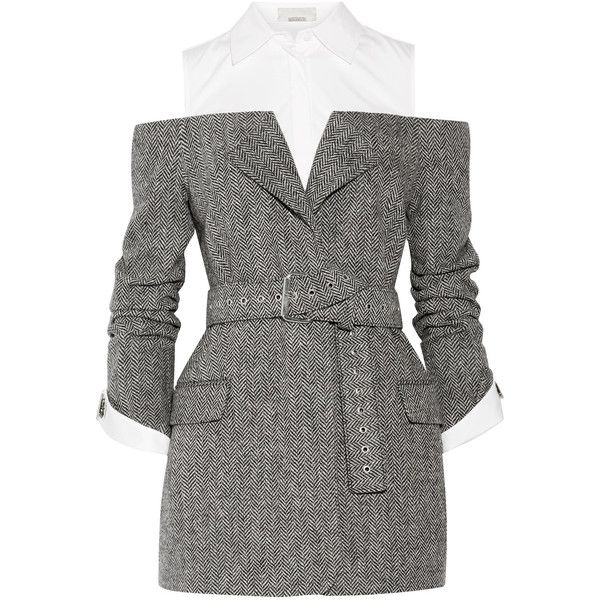 Monse Cutout herringbone wool and cotton-poplin blazer ($2,490) ❤ liked on Polyvore featuring outerwear, jackets, blazers, charcoal, off the shoulder jacket, tailored blazer, cut out blazer, charcoal jacket and herringbone blazer