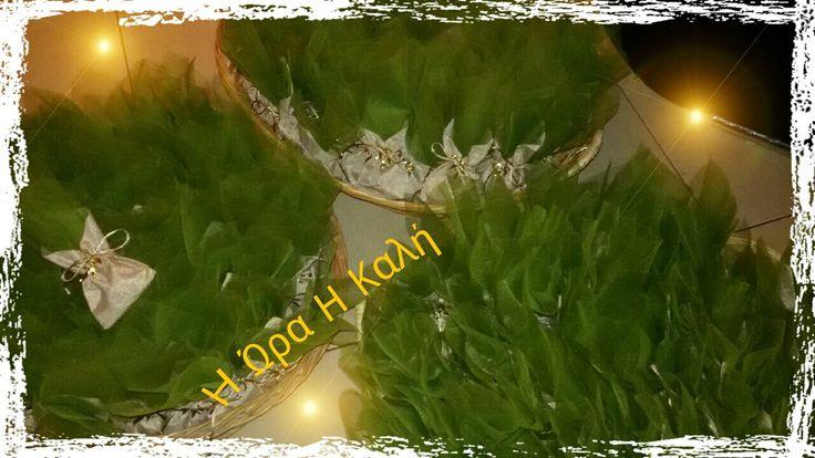Μπομπονιέρα σε πουγκί λινάτσα, με πράσινο τούλι στο θέμα της ελιάς!
