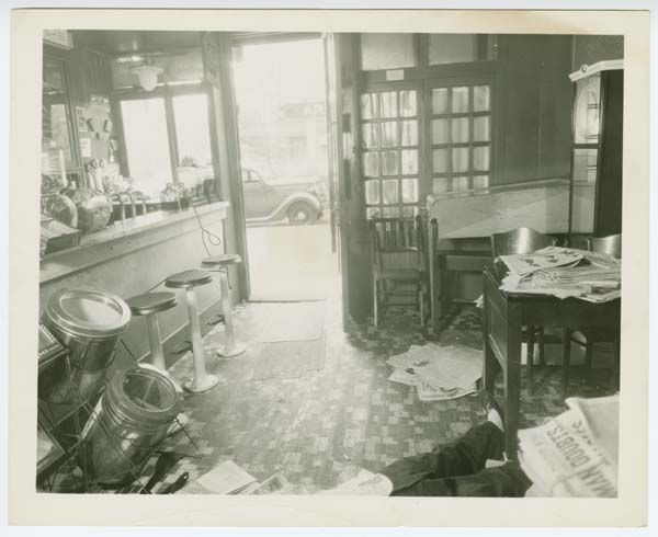 Crime scene photograph, front view of candy store with body of Joseph Rosen, 1936.     Source: Burton Turkus Papers; Special Collections, Lloyd Sealy Library, John Jay College of Criminal Justice http://www.lib.jjay.cuny.edu/crimeinny/