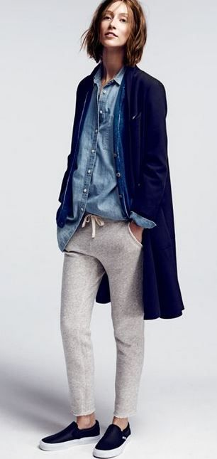 Denim top, fitted sweat pants, casual wear, loungewear