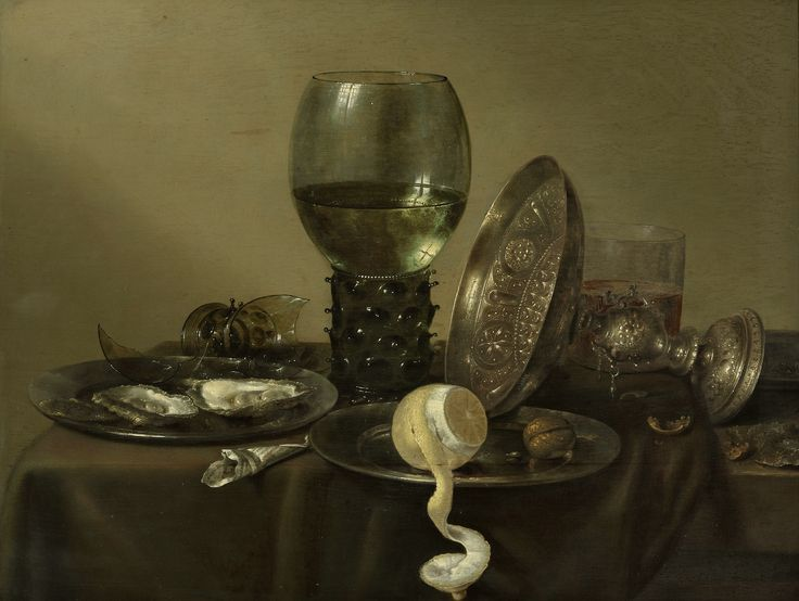 "Still life with oysters, a rummer, a lemon and a silver bowl by Willem Claesz. Heda, 1634 (PD-art/old), Museum Boijmans Van Beuningen, similar painting possibly by Willem Claesz. Heda was in the collection of the Polish Vasas - inventory of John Casimir's collection lists under no. 357. ""A small painting with a lemon on a plate and a silver overturned vase, in ebony frame"""