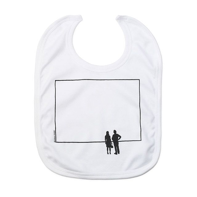 Printed with a gallery scene, the Blank Canvas Bib lets you embrace your little ones spills and dribbles.