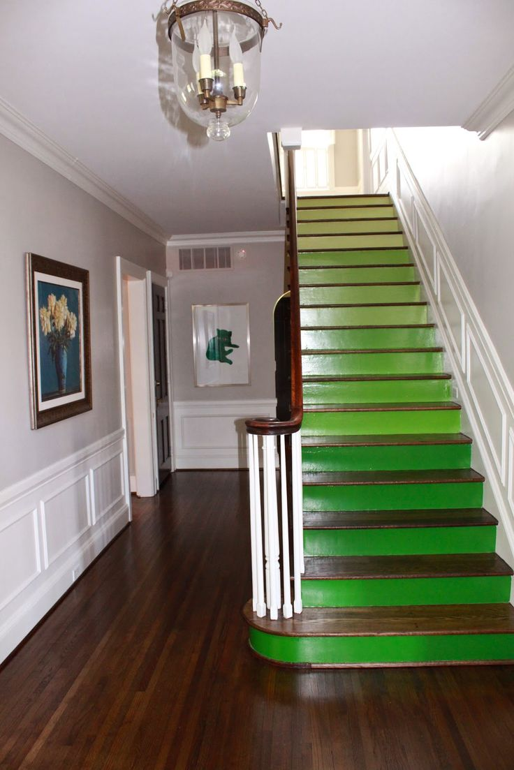 Green Ombre Stairs With Natural Wood Treads, Steps, And Green Painted Risers