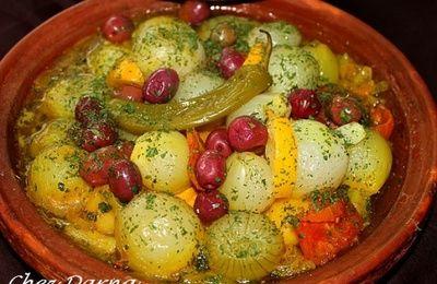 tajine de veau aux oignons et olive rouges