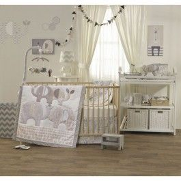 <p><strong>Add a unique touch!</strong></p><br/><p>The Naturi 4-piece crib set by Lolli Living features charming elephants and eclectic prints that coordinate perfectly with mix n' match bedding. Made with 100% cotton, this set includes a quilt, 2 fitted sheets, and a bed skirt.</p>