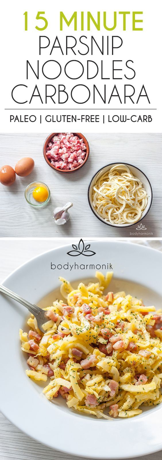 Do you love a classic Carbonara? No cream, just silky egg yolk. Well this is a classic Italian Carbonara recipe, but with a twist. Instead of spaghetti, we are using parsnip noodles. Yes, this delicious vegetable creates the perfect base for a paleo and gluten-free Carbonara. Easy 15-minute low-carb spiralizer recipe!