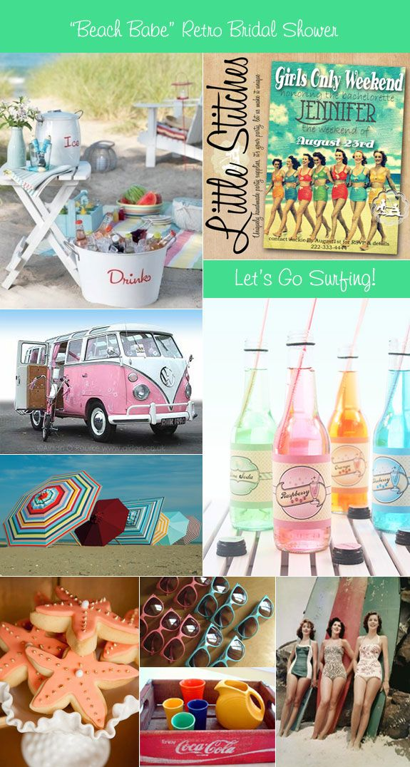 'Retro Beach Picnic' bridal shower theme ideas for decorations, favors, food, and drinks