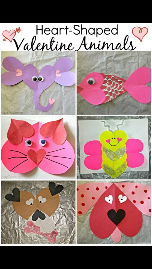 Tons Of Valentineu0027s Day Heart  Shaped Animal Crafts For Kids Valentine Art  Projects (Make Butterfly Into Bee Using Yellow And Black?
