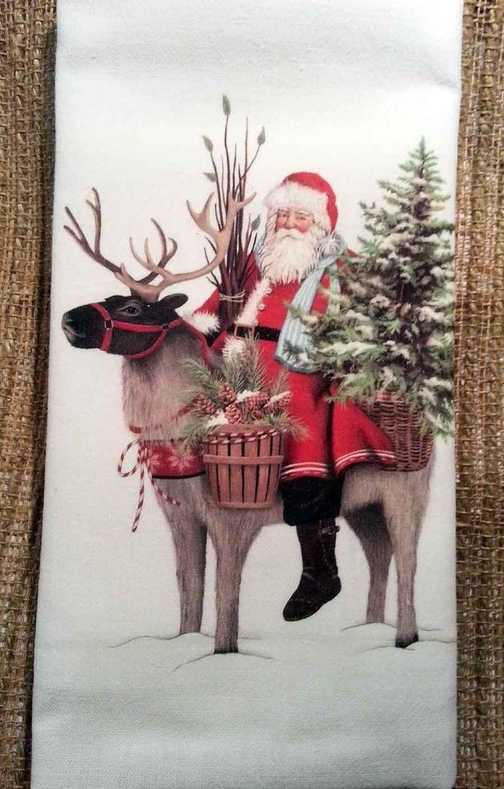 Cute santa claus towel christmas decor - Wilderness Reindeer Christmas Santa 100 Cotton Flour Sack Towel 30 X 30