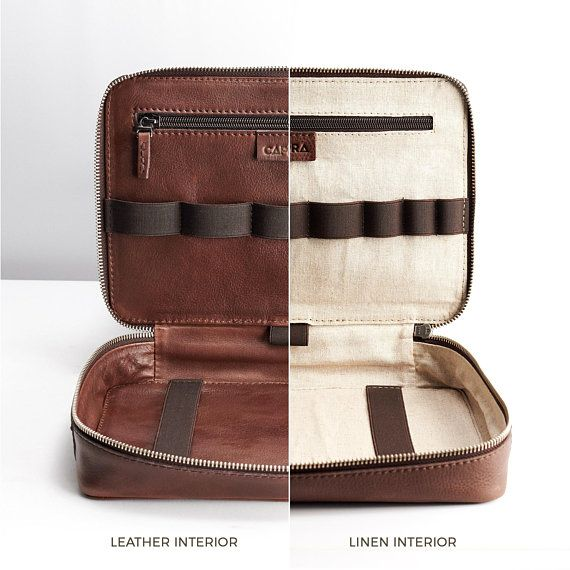 423296b909f7 Brown Leather Travel Tech Organizer Men iPad Case | Topo x Hatchet ...