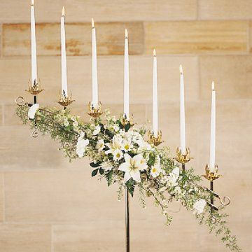 wedding candelabra decor for church | This first candelabra can be flexible. The arms can fold to a straight ...