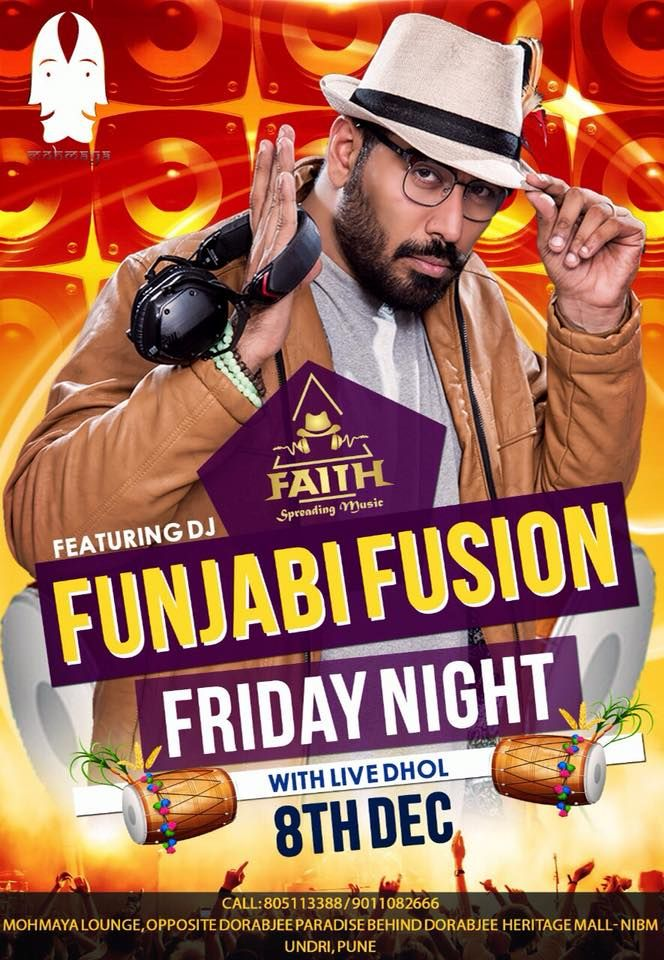 Funjabi Fusion Friday Night Let's dance and jump to the beats of DJ Faith in the house and live dhol 8TH DEC. We are ready to serve our guests with amazing food being pocket friendly as we'll. (Tandoor , Continental, Chinese & Indian) We have buy one get one free till 11 on IMFL Let's not forget we are open till late.  Cheers 😇🥂