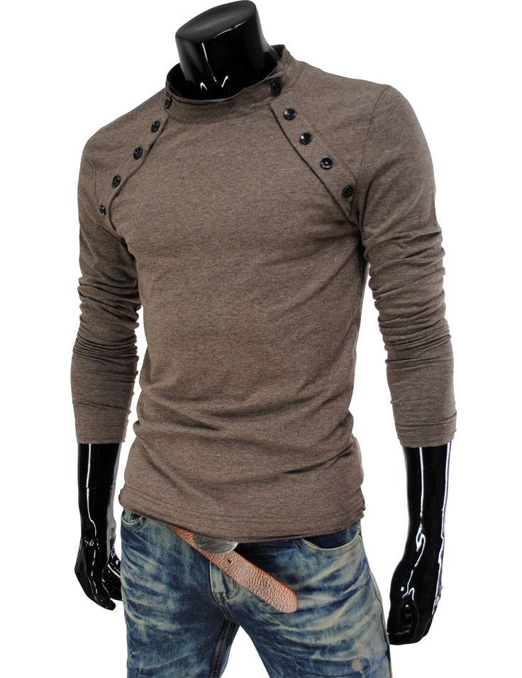 Casual Long Sleeve Roundneck Shirt w/ Button Detail