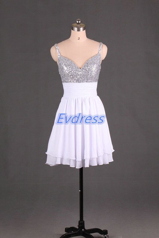 Short white chiffon homecoming dress,cheap v-neck prom dress under 100, 2016 sexy women gowns for party. by Evdress on Etsy https://www.etsy.com/listing/200096250/short-white-chiffon-homecoming